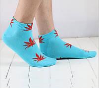 Носки HUF plantlife, голубые с красным листом конопли К12