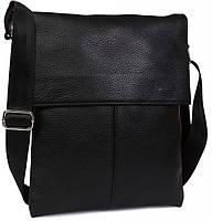 Повседневная комфортная сумка через плечо, кожаная Alvi av-101black черная