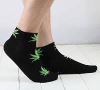 Носки HUF plantlife, чёрные с зелёным листом конопли К17