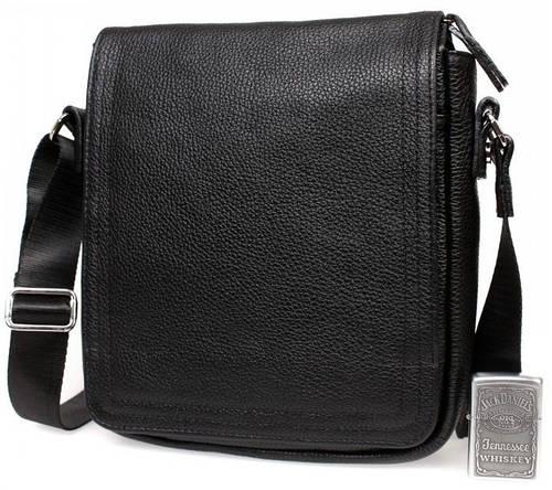 Удобная мужская сумка через плечо с клапаном, кожаная Alvi av-9-7082 черная