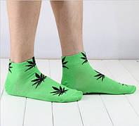 Носки HUF plantlife, зелёные с чёрным листом конопли К18