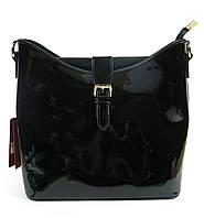 Лаковая черная сумка через плечо
