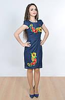Синее льняное платье оригинального кроя с запахом