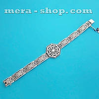 Серебряный браслет со славянскими оберегами