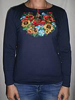 """Женская футболка вышиванка """"Подсолнухи+Маки+Волошки"""" длинный рукав"""