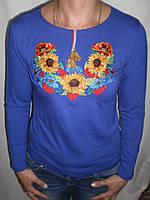 """Женская футболка вышиванка """"Подсолнухи+Маки+Волошки 2"""" длинный рукав"""