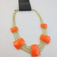 Модное женское колье Forever 21 с оранжевыми вставками