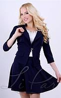 Однотонная женская юбка синего цвета 20