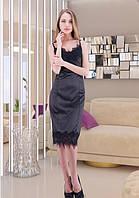 Черное атласное платье-комбинация с кружевом