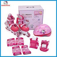 Детские ролики Hello Kitty 30-33, шлем, защита.