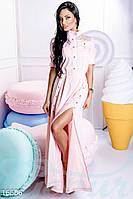 Женственное приталенное платье рубашка на пуговицах с перфорированной кокеткой рукав до локтя крепдешин