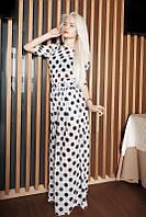 Шифоновое длинное белое платье в чёрный горох. Арт-5546/54
