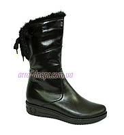 Кожаные черные женские ботинки на утолщенной подошве