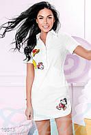 Молодежное женское платье рубашка с разрезами по бокам и вышивкой пайетками рукав короткий бенгалин