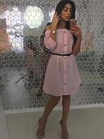 Женское летнее платье  с поясом, в расцветках
