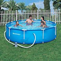 Сборный бассейн для дачи Bestway Metal Frame Pool 56260: 100*366 см, стальной каркас, насос, 32кг