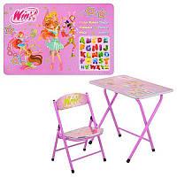 Детский складной столик и стульчик DT 19-15: МДФ/металл, стол 60*40*54см, стул 27*27*54,5см