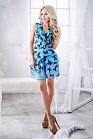 Платье Летнее голубое шифоновое с бабочками ярусные воланы