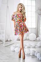 Платье Летнее Полированный штапель яркое с розочками