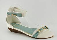 Элегантные босоножки женские белые с голубым