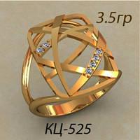 Модное женское золотое кольцо 585 * в виде переплетённых линий