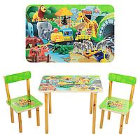 Детский столик из дерева Конструктор 501-19, два стульчика, столешница МДФ ламинированная, от 3-х лет