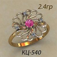 Модное женское золотое кольцо 585 * в виде цветочка с фианитами