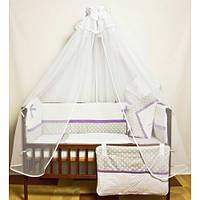 Детское постельное белье в кроватку из 8 ед. (серый горох+горох). В наборе конверт на выписку