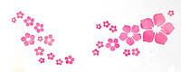 Наклейка виниловая Цветочки розовые 3D декор