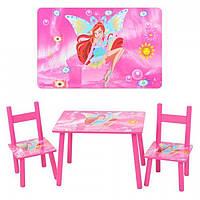 Детский стол со стульчиками 2547-36 WX: дерево, МДФ, розовый, от 2-х лет