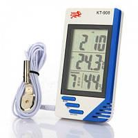Цифровой термометр, измеритель влажности, часы КТ-908