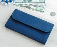Женский кожаный кошелек портмоне Fiona синий мини клатч