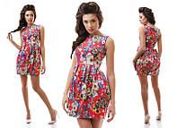 Платье жаккард с цветами в трёх расцветках  , фото 1