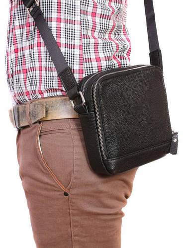 Функциональная сумка с плечевым ремнем, натуральная кожа Alvi av-2-3082 черная
