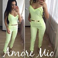 Женский стильный лимонный летний комбез (штаны) с пояском