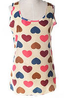 Блуза женская без рукавов / Майка шифоновая с сердечками бежевая