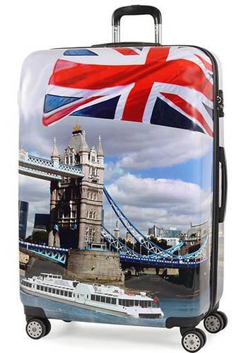 Объемный пластиковый 4-колесный чемодан 125 л. Members Square Mile (XL), 922619 London Day