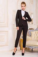 Женский пиджак приталенного фасона из костюмного шелка коричневый р.XS,S,M