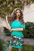 Модное бирюзовое платье-вышиванка, открытые плечи. Арт.-5552/54