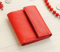 Красный Женский кожаный кошелек портмоне Folk красный маленький