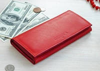 Женский кожаный кошелек портмоне Katrine красный мини клатч