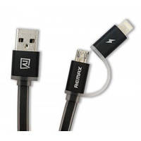 Кабель USB (папа) = iPhone 5 Remax Aurora cable Lightning + microUSB Black