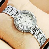 Часы наручные женские под серебро с камушками (со стразами) серебояныеые Cartier