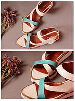 Стильные женские комфортные сандалии на липучке из натуральной турецкой кожи