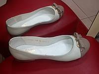 Женские кожаные балетки  МИДА беж.