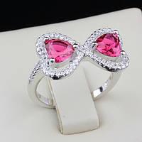 003-0086 - Оригинальное кольцо Два Сердечка с рубиновыми и прозрачными фианитами родий, 16 р.