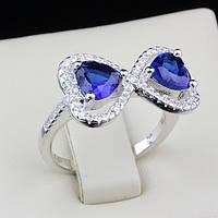 003-0087 - Оригинальное кольцо Два Сердечка с сапфировыми и прозрачными фианитами родий, 17 р.