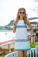 Белое летнее Платье с голубым принтом