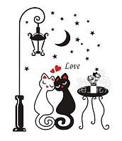 """Наклейка на стену Стикер """"кошки возле уличного фонаря"""" 70*54см"""