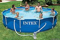 Каркасный бассейн для дачи INTEX 28212, круглый, 366*76см, синий, фильтр-насос, коробка